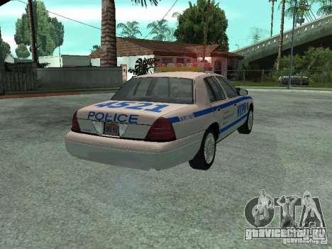 Ford Crown Victoria NYPD для GTA San Andreas вид сзади слева