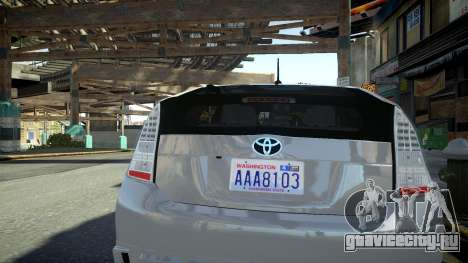 Toyota Prius III для GTA 4 вид справа