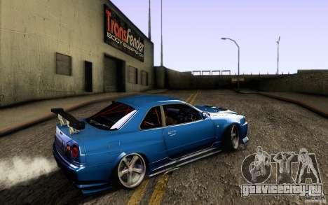 Nissan Skyline GT-R34 для GTA San Andreas вид сзади слева
