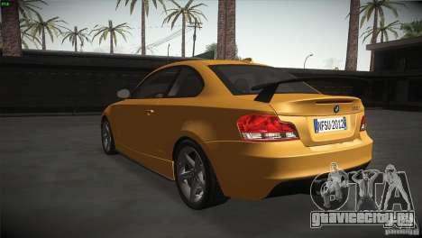 BMW 135i Coupe Road Edition для GTA San Andreas вид сзади слева