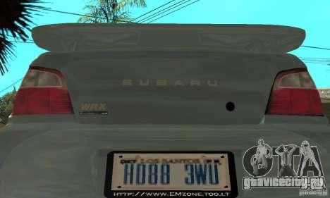Subaru Impreza 2002 Tunable - Stock для GTA San Andreas вид сбоку
