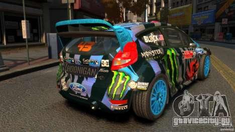 Ford Fiesta Rallycross Ken Block (Hoonigan) 2013 для GTA 4 вид сзади слева