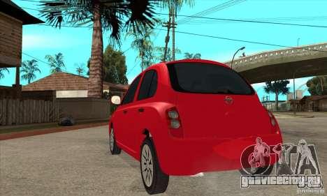 Nissan Micra для GTA San Andreas вид сзади слева