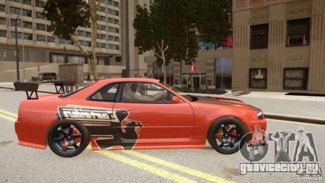 Nissan Skyline GT-R R34 Underground Style для GTA 4 вид изнутри