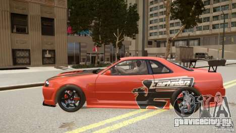 Nissan Skyline GT-R R34 Underground Style для GTA 4 вид слева
