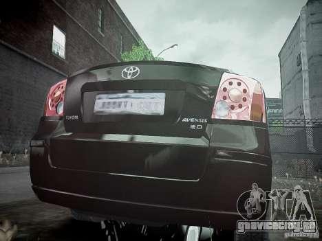 Toyota Avensis для GTA 4 вид сзади