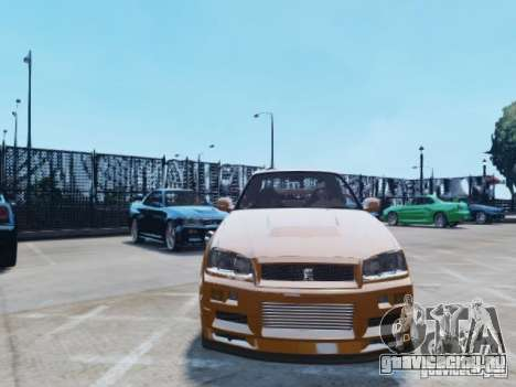 Nissan Skyline GT-R R34 Fast and Furious 4 для GTA 4 вид сбоку