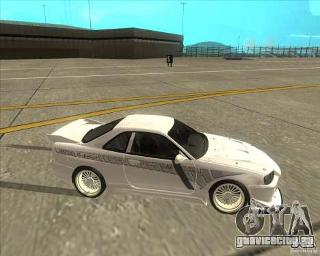 Nissan Skyline R34 Veilside street drag для GTA San Andreas вид сзади