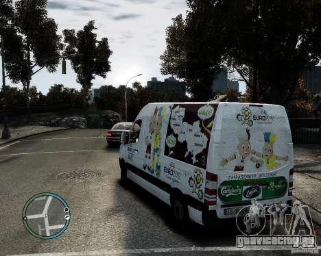Euro 2012 Bus Mercedes Sprinter для GTA 4 вид слева