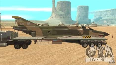 Flatbed trailer with dismantled F-4E Phantom для GTA San Andreas вид слева