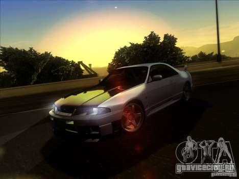 Nissan Skyline GTR BNR33 для GTA San Andreas вид изнутри