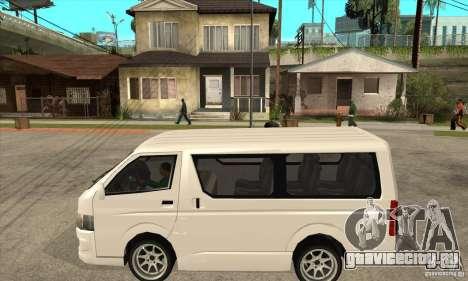 Toyota Hiace для GTA San Andreas вид сзади слева