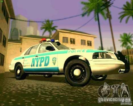 Ford Crown Victoria 2003 NYPD police для GTA San Andreas вид изнутри