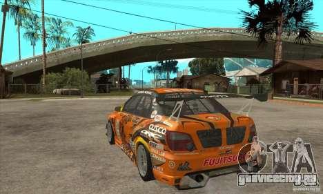 Subaru Impreza D1 WRX Yukes Team Orange для GTA San Andreas вид сзади слева
