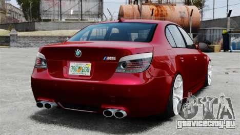 BMW M5 E60 2009 для GTA 4 вид сзади слева