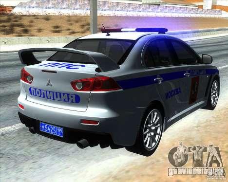 Mitsubishi Lancer Evolution X ППС Полиция для GTA San Andreas вид сзади слева