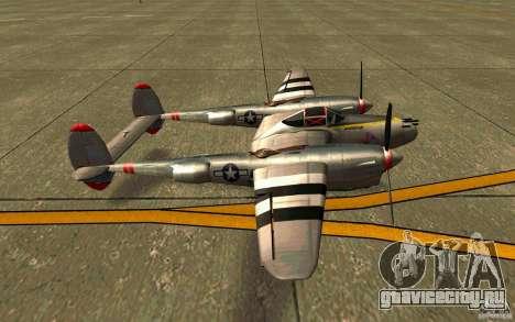 P38 Lightning для GTA San Andreas вид слева