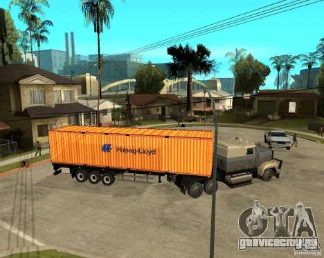 Krone Trailer Hapag-LLoyd для GTA San Andreas вид сзади слева