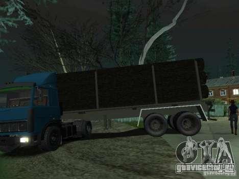 Прицеп лесовоз для тягачей для GTA San Andreas вид слева