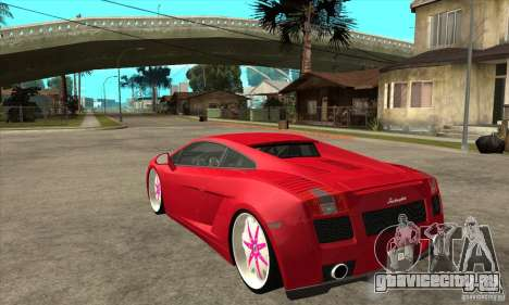 Lamborghini Gallardo White & Pink для GTA San Andreas вид сзади слева