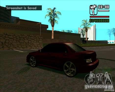 Subaru Impreza tuning для GTA San Andreas вид сзади слева