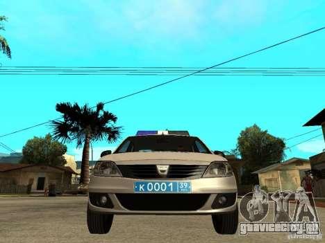 Dacia Logan Police для GTA San Andreas вид справа