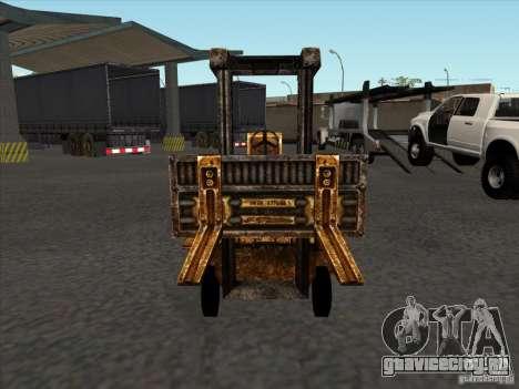 Автопогрузчик из TimeShift для GTA San Andreas вид сзади