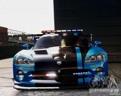 Dodge Viper SRT-10 ACR 2009 Police ELS для GTA 4 вид изнутри
