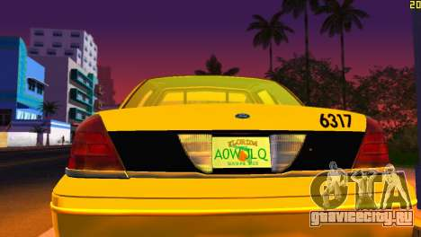 Ford Crown Victoria Taxi 2003 для GTA Vice City вид изнутри