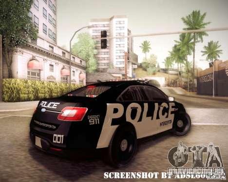 Ford Taurus Police Interceptor 2011 для GTA San Andreas вид справа