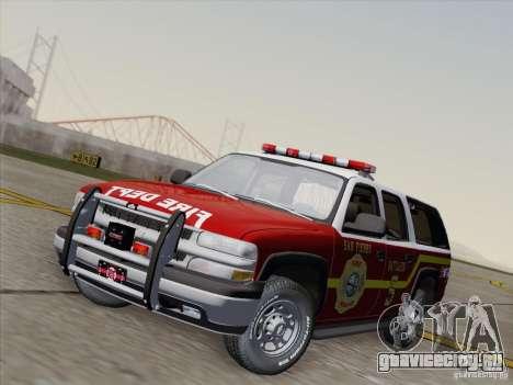 Chevrolet Suburban SFFD для GTA San Andreas вид сзади слева
