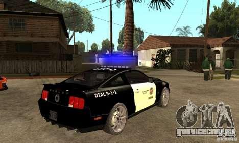 Shelby GT500KR Edition POLICE для GTA San Andreas вид справа