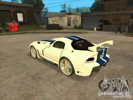 Dodge Viper from MW для GTA San Andreas вид сзади слева