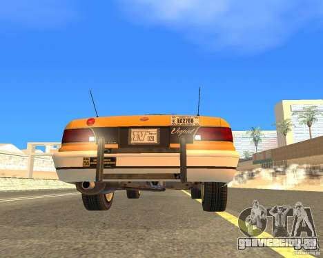 Taxi from GTAIV для GTA San Andreas вид сзади