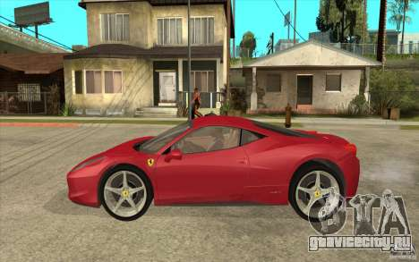 Ferrari F458 для GTA San Andreas вид слева
