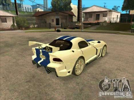 Dodge Viper from MW для GTA San Andreas вид справа