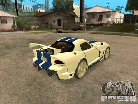 Dodge Viper from MW для GTA San Andreas вид справа