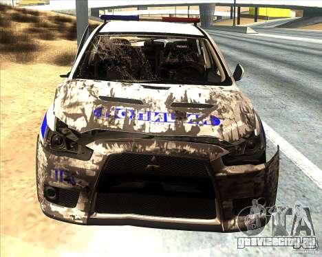 Mitsubishi Lancer Evolution X ППС Полиция для GTA San Andreas салон