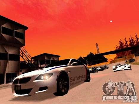 BMW M6 MotoGP SafetyCar для GTA San Andreas вид сзади слева