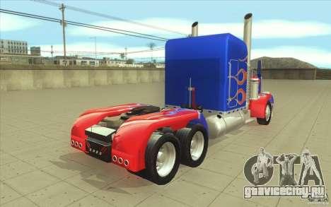 Peterbilt 379 Optimus Prime для GTA San Andreas вид сбоку