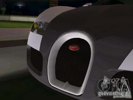 Bugatti Veyron EB 16.4 для GTA Vice City вид изнутри