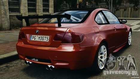 BMW M3 GTS 2010 для GTA 4 вид сзади слева