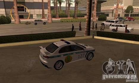 Mitsubishi Lancer Evolution X Полиция Казахстана для GTA San Andreas вид слева