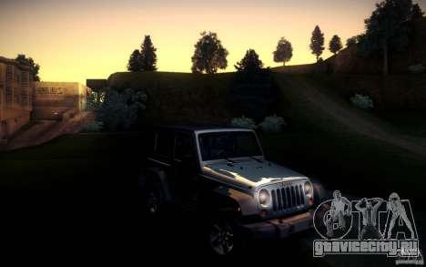 Jeep Wrangler Rubicon 2012 для GTA San Andreas вид сзади слева