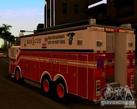 Pumper Firetruck Pierce F.D.N.Y для GTA San Andreas вид сзади слева