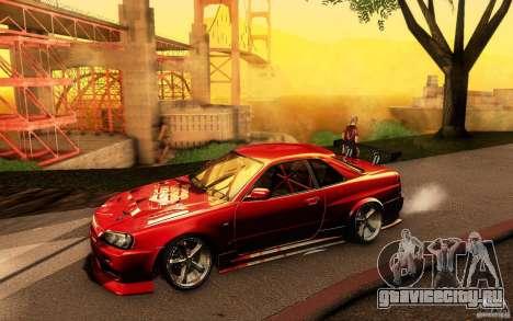 Nissan Skyline GT-R34 для GTA San Andreas салон