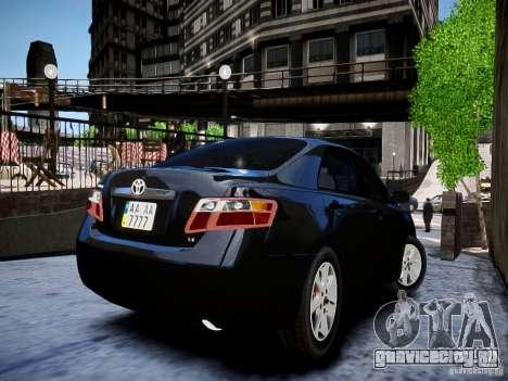 Toyota Camry для GTA 4 вид сзади слева