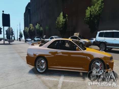 Nissan Skyline GT-R R34 Fast and Furious 4 для GTA 4 вид изнутри