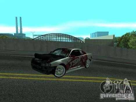 Nissan Skyline R 34 для GTA San Andreas вид изнутри