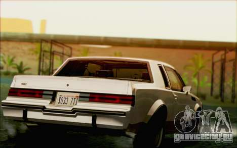 Buick GNX 1987 для GTA San Andreas двигатель